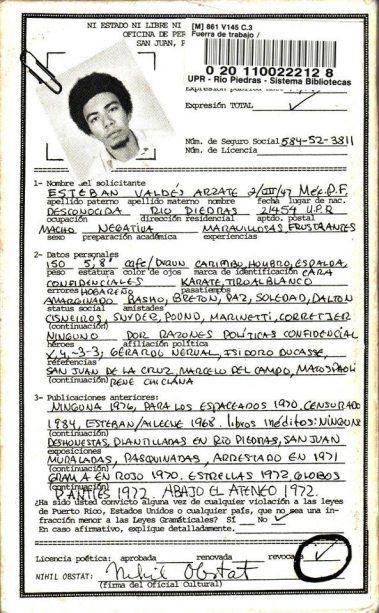 Contraportada del libro Fuera de trabajo (1977) obra del poeta concreto Esteban Valdés