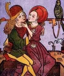 Prostituta robando a un joven cliente. Grabado del siglo 16
