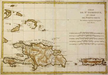 Santo Domingo y Puerto Rico en un mapa del siglo 18